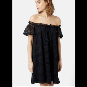 TopShop navy lace off the shoulder dress size 2